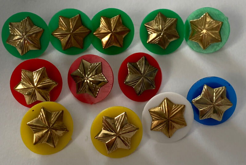 12 Vintage Girl Scout Membership Star Pins Assorted Colors