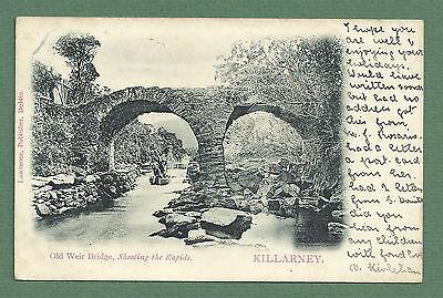 1903 POSTCARD OLD WEIR BRIDGE SHOOTING THE RAPIDS KILLARNEY IRELAND