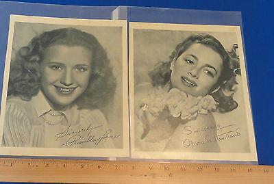 Movie Star Photo Cards Olivia de Havilland & Priscilla Lane Calox Tooth Powder -