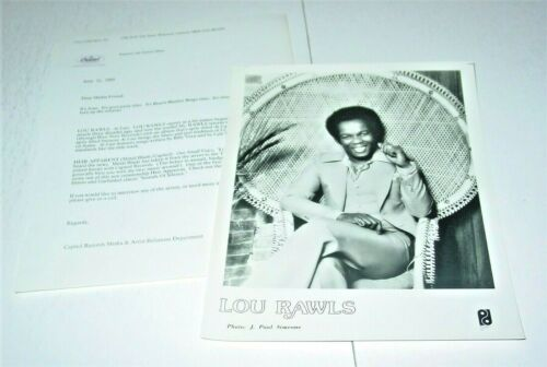 Lou Rawls Original Press Photo w/ paperwork Capitol R&B Soul Black Power BLM 2