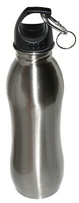 25 oz - Stainless Steel Sports Water Bottle With Clip - Wide Mouth - Silver