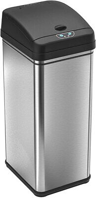 iTouchless - 13-Gal. Touchless Rectangular Trash Can - Silver *FREESHIPPING*