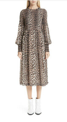 GANNI Leopard Print Georgette Midi Dress Size EU36 US 4