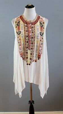 Biya Johnny Was S Small White Embroidered Sleeveless Rayon Evvy Blouse Top Tunic