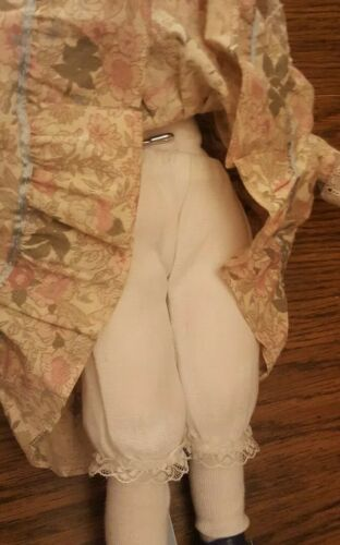 Vintage Anco Porcelain Face Doll With Stand Blond Hair 1991 16 Tall - $14.99