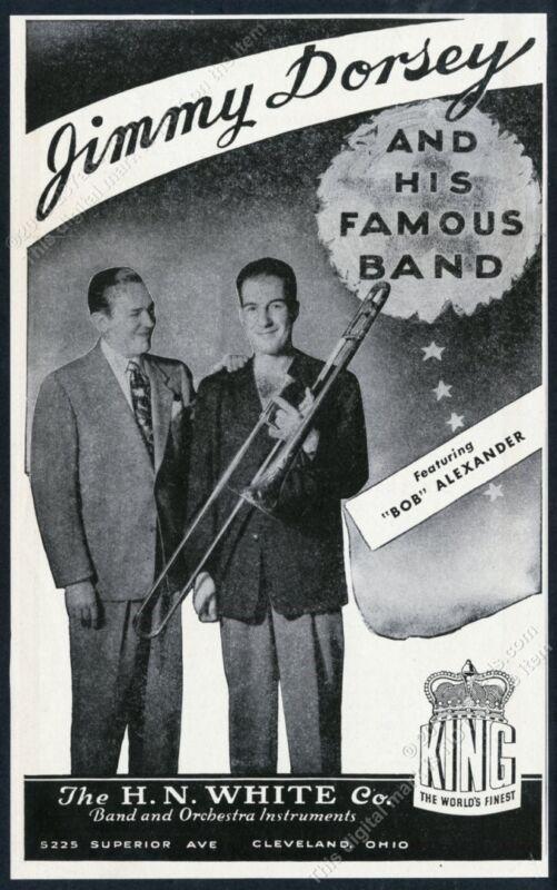 1946 Jimmy Dorsey Bob Alexander photo King trombone vintage print ad