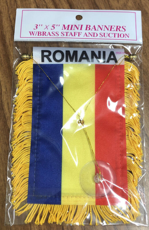Romania 🇷🇴 MINI BANNER FLAG CAR WINDOW MIRROR HANGING W Suction New