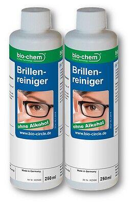 bio-chem® Brillenreiniger 500ml Nachfüll-Set 2x250ml I Brillenspray ohne Alkohol