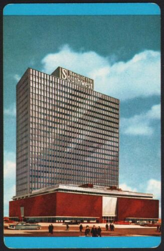 Vintage playing card BANK OF THE SOUTHWEST blue border building Houston Texas