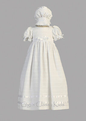 Baby Girls White Embroidered Cotton Dress Gown Christenin...