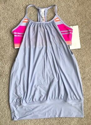 NEW Lululemon Yoga No Limits Bra Tank Top Size 6 Cool Breeze Groovy Stripe Pink