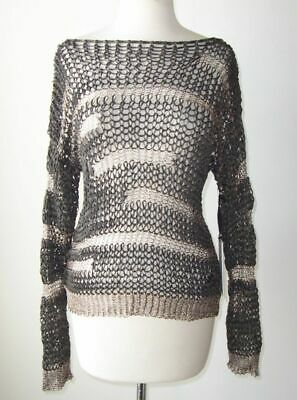 ISABEL BENENATO Metallic Open Weave Crochet Knit Sweater M