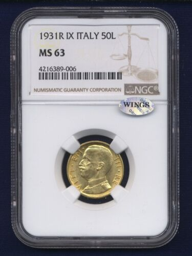 ITALY  1931-R  YR. IX  50 LIRE  UNCIRCULATED GOLD COIN, NGC CERTIFIED MS63
