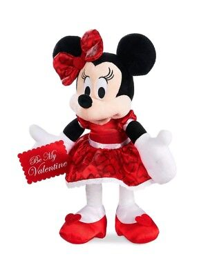 """Disney Store MINNIE MOUSE VALENTINE 12"""" PLUSH """"BE MY VALENTINE"""" Red Hearts New"""
