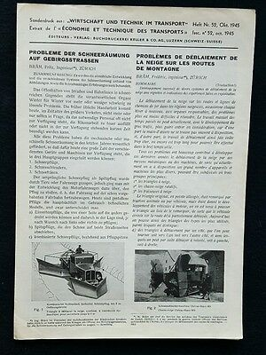 Rare Snow Plow Machine Caterpillar Prospekt Truck Brochure German French 1945