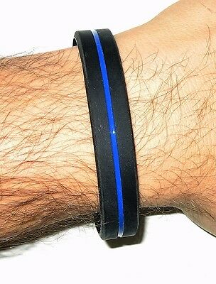 Armband Silikon unisex Größe thin blue line dünne blaue Linie Polizei