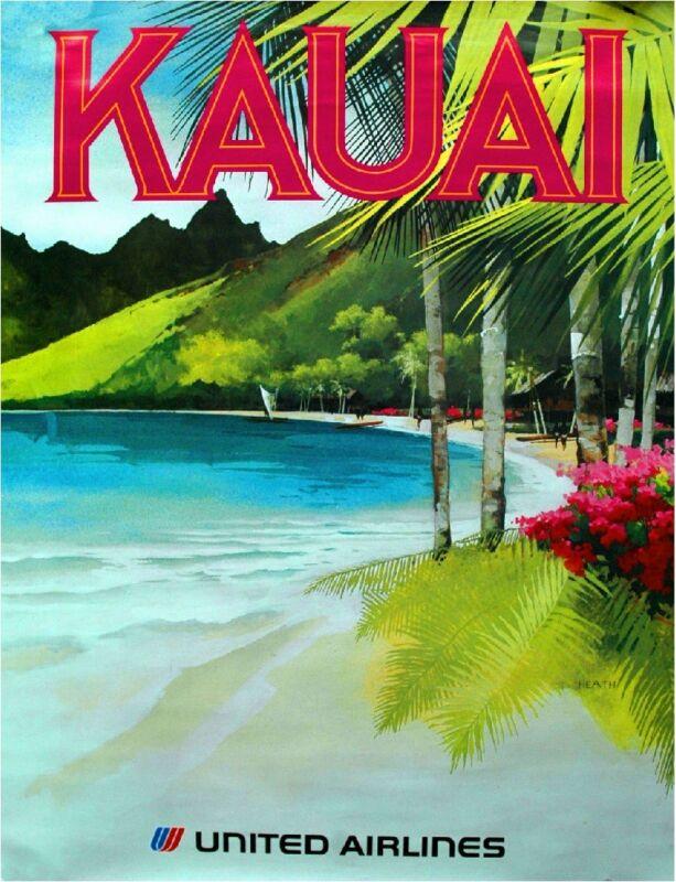 1960s Kauai Hawaii Hawaiian Beach United States Travel Advertisement Art Poster