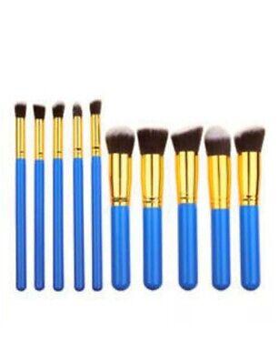 10pcs Professional Makeup Brush Set Eyeshadow Lip Powder Blusher Blue  & Gold Makeup Blusher Brush