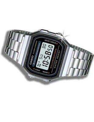 NEW Classic CASIO Retro Unisex Digital Steel Bracelet Silver Watch- A168WA-1YES