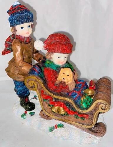 Girl+Boy+And+Dog+On+Sleigh+In+Snow+Christmas+Decorative+Ornament+18+x+17cm