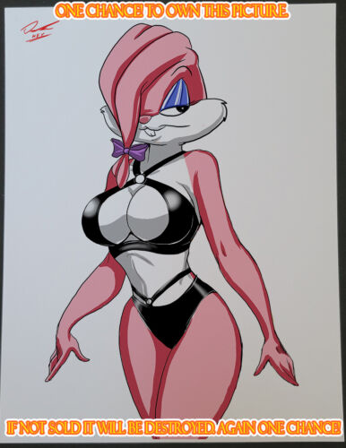 babs bunny Lucky CG Color Illustration Print Signed 8.5x11