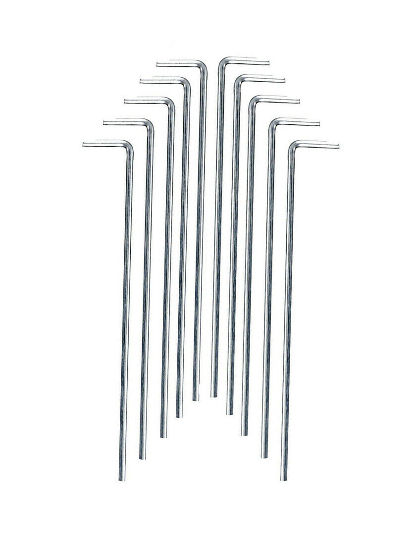 Camping//Hiking Canopy Hook Ground Stakes 10x Metal Tent Pegs
