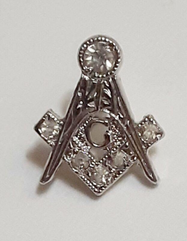 Vintage Masonic Sterling Silver Screw Back Pin