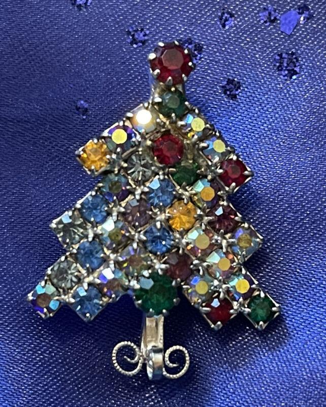 Vintage Rhinestone Christmas Tree Brooch Pin - Silver Tone, Prong Set