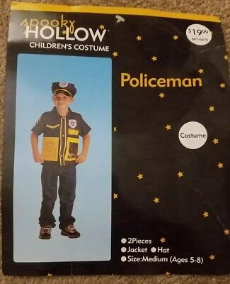 Kids' Police Officer Cop Dress Up Costume Policeman Jacket Hat Boys' Medium M