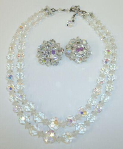 Vintage Austrian Crystal Double Strand Choker Necklace & Clip Earrings Set
