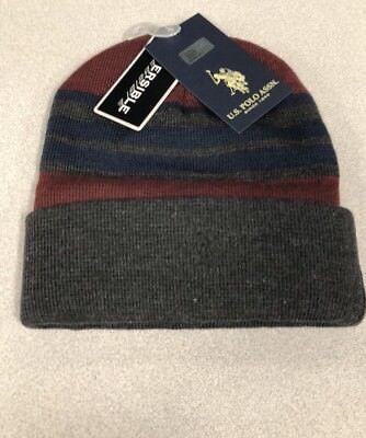 U.S POLO ASSN. Reversible Stripe Cuffed Blue Maroon Gray Beanie Hat NWT Reversible Stripe Beanie