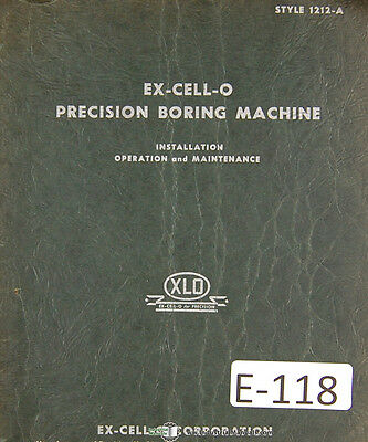 Excello 1212-a Precision Boring Mill Operations And Parts Lists Manual