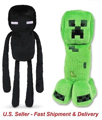 (Set of 2) Minecraft Plush Toys - Creeper and Enderman