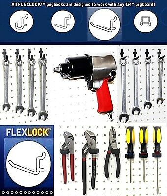 50 Assorted Black Locking Poly Peg Board Hooks Fit 14 In. Standard Pegboard