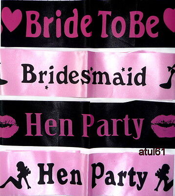 Hen Party Sashes Girls Night Out Accessory Wedding Sash - Hot Pink & Black NEW