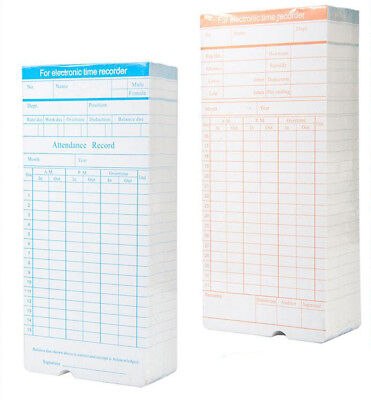 100 Pcs Monthly Time Clock Cards For Attendance Payroll Recorder Time Cards
