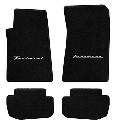NEW! 1958-1960 Black Floor Mats T-Bird Thunderbird with Script Logo Set of 4