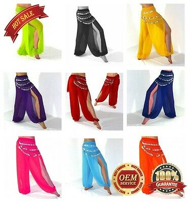 Belly Dance Harem Pants Bollywood Dancing Costume Red Hot Pink White Blue Purple - Harem Costume