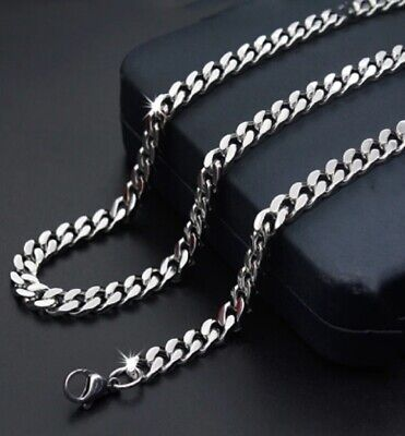 51cm Stainless Steel Necklace Silver Curb Link Cuban Chain 20 inch X 6mm N104 UK