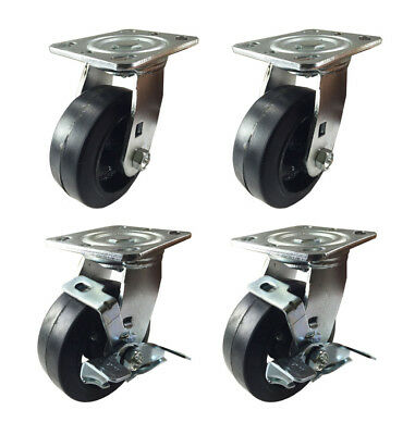 4 Heavy Duty Caster Set 4 5 6 Rubber On Cast Iron Wheels Rigid Swivel Brake