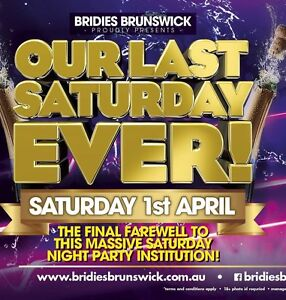 2 tickets to the last ever night at Bridie O'Reilly's Sat 1st April Laverton Wyndham Area Preview