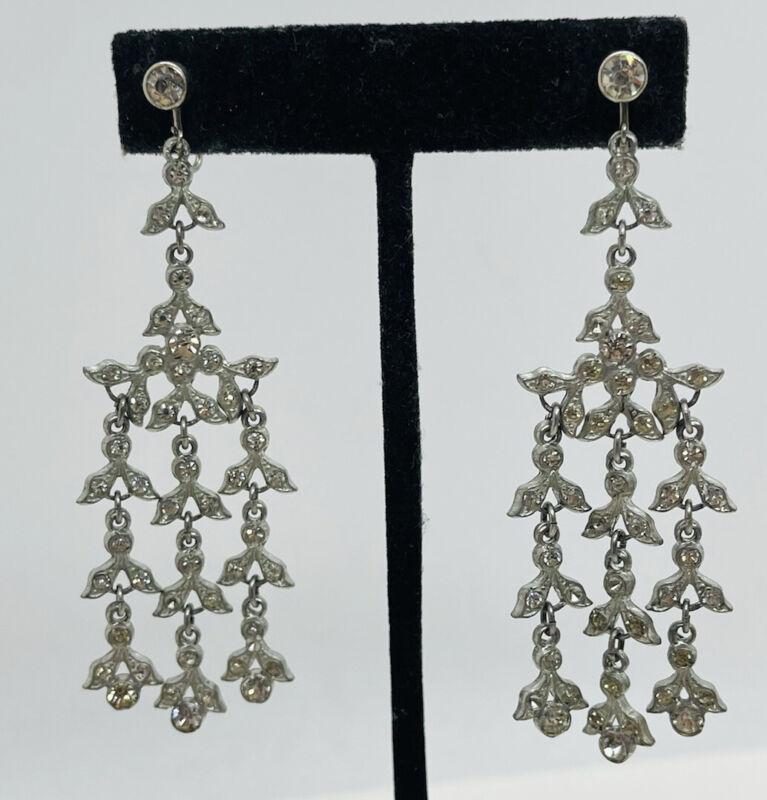 Antique Victorian Paste Clear Rhinestone Chandelier Dangle Earrings