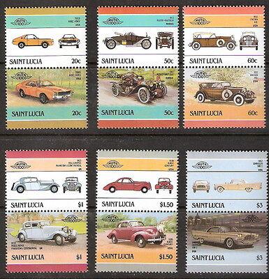 Saint Lucia 1986 Cars Autos Se-Tenant Pairs Complete Set MNH (SC# 850-856)