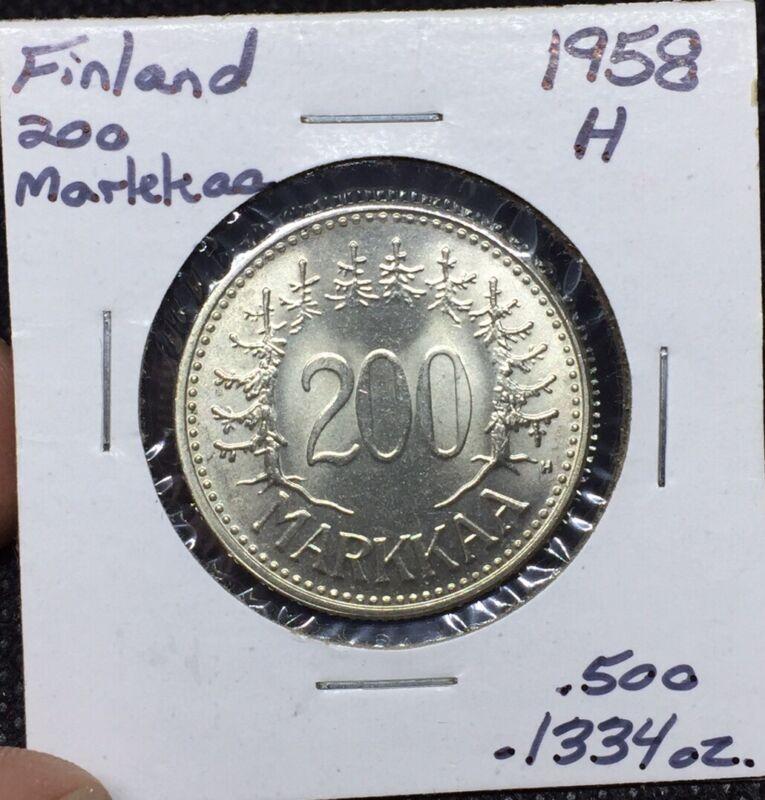 1958 H Finland 200 Markkaa Uncirculated BU