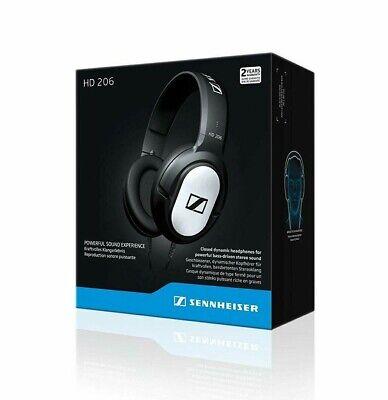 Sennheiser HD 206 Stereo WIRED Headphones Earphones Over Ear Black Silver - NEW