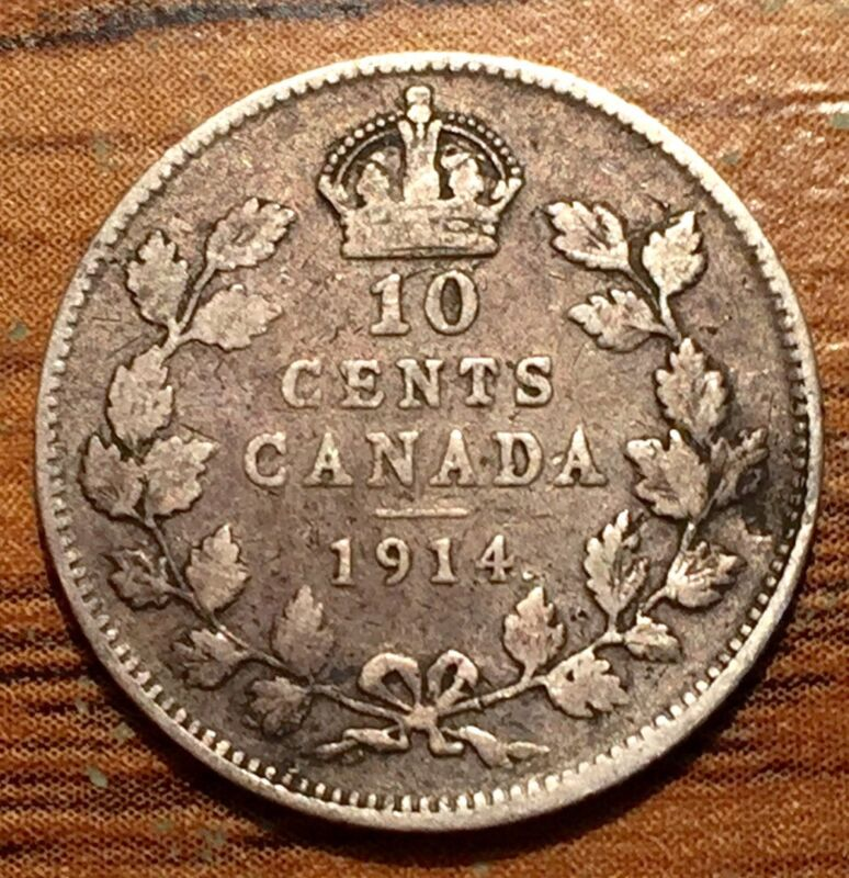 1914 Silver Canada 10 Cents King George V Coin