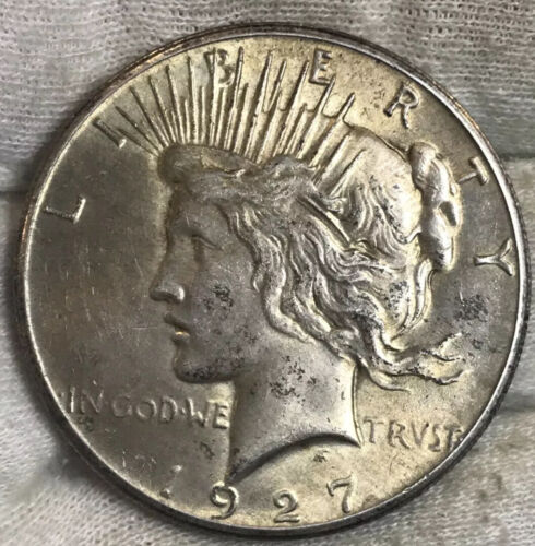 1927 Peace Dollar AU Fantastic Gold Toning - $70.00