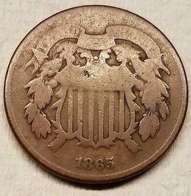 1865 Two Cents Piece Semi-Key Date Civil War Era 2cent Coin