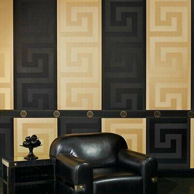 Modern Designer Versace Wallpaper & Border | Luxury Satin Greek Key Black & Gold