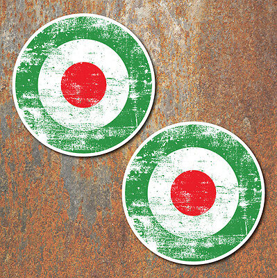 MOD Italy Aged look Laminated Stickers x2 150mm scooter Vespa Lambretta decal